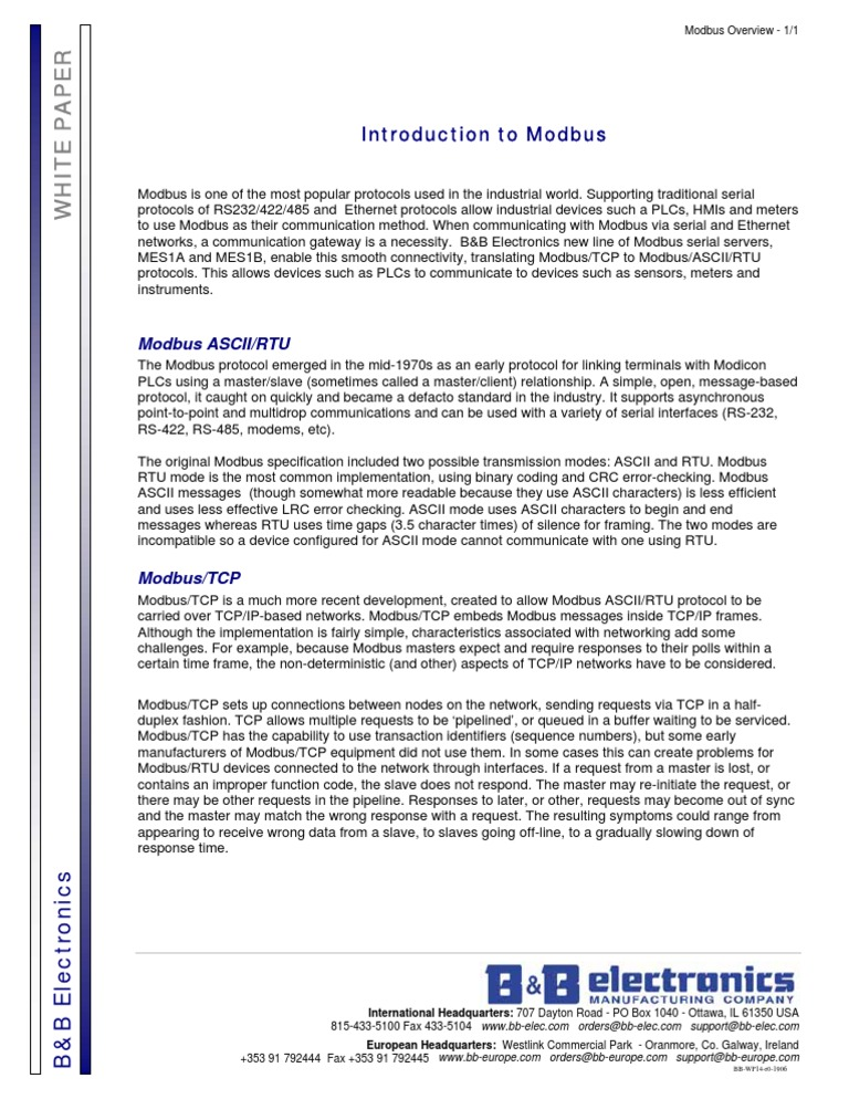 Modbus Overview | Transmission Control Protocol