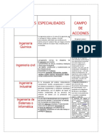 INGENIERIAS especialidaddes y campos de accion