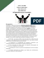 ETICA Y VALORES MI COMPROMISO POLITICO Y ECONOMICO