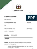 Otjozondu Mine v Purity Manganese Judg.A140-08.Damaseb JP.26Jan 11.Doc