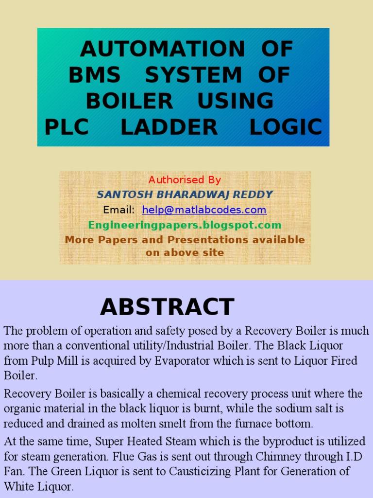 Bms Boiler Ladder Diagram Wiring For Professional System Automation Of Using Plc Logic Rh Es Scribd Com Battery Management