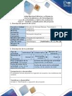 Guía de actividades y rúbrica de evaluación - Fase 3 - Análisis y planificación del proyecto