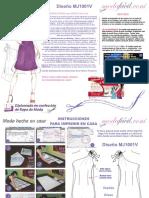 Instrucciones de Costura del Vestido de hombro descubierto, lazo y transparencias mj1001v