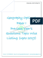 Paper 1-Previous Year's Questions Topic Wise Listing