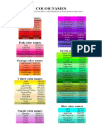 HTML and CSS Color Names