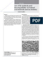 A review of the methods used to study biocompatibility of portland cement derived materials used in dentistry