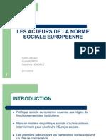 LES ACTEURS DE LA NORME SOCIALE EUROPEENNE 301010