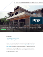 Complete Construction Cost of an A category 10 Marla House in 2020