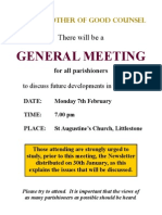 Catholic Hythe - Invitation to General Meeting 7 February 2011