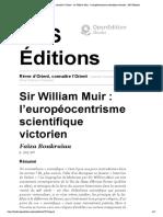 Rêver d'Orient, connaître l'Orient - Sir William Muir_ l'européocentrisme scientifique victorien - ENS Éditions