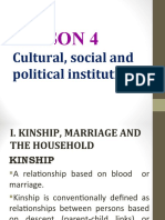LESSON 4 - CULTURAL. SOCIAL AND POLITICAL INSTITUTIONS