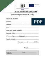 Impreso de solicitud de Transporte Escolar