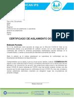 FMT Certificado aislamiento