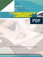 Cartorio e Notaria 1 e 2 PRODUÇÃO TEXTUAL INTERDISCIPLINAR INDIVIDUALPRODUÇÃO TEXTUAL– PTI INTERDISCIPLINARCSTemServiçosJurídicos Cartorários e Notariais INDIVIDUAL – PTI Curso Superior de Tecnologia em Serviços Jurídicos Cartorários e Notariais ADQUIRA ESTE TRABALHO CONOSCO – TEMOS A PRONTA ENTREGA WHATSAPP