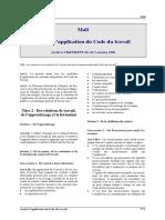 Mali - Code travail - Arrete application