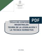 PLAN DE TRABAJO CICLO DE CONFERENCIAS MAGISTRALES EN  TEORÍA DE LA LEGISLACIÓN Y TECNICA NORMATIVA