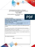 Activities guide and evaluation rubric - Unit 1 - Task 2 - Writing Production traduccir