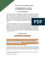 COMISIÓN TEOLÓGICA INTERNACIONAL (CTI). LA SINODALIDAD EN LA VIDA Y EN LA MISIÓN DE LA IGLESIA (2018)