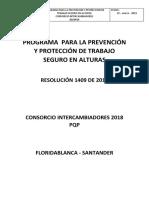 Programa  para la prevención  y protección de trabajo seguro en alturas