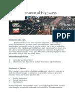Maintenance of highways