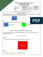 GUÍA 4. TEOREMA DE PITAGORAS areas de un cuadrado