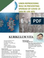 Linen Reprocessing Role in preventing Covid 19