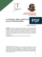 Las infracciones relativas al ejercicio del derecho de acceso a la información publica