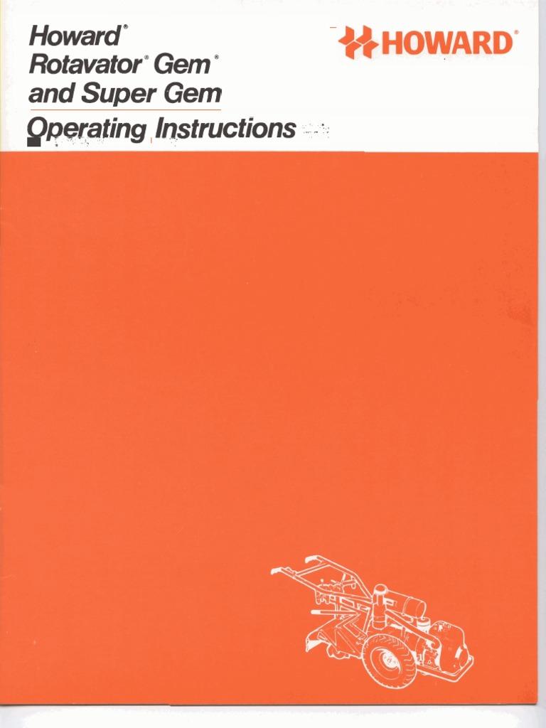 howard rotavator gem super gem workshop manual