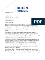 Biden campaign letter to Facebook 9.28
