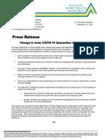 Change in Iowa COVID-19 Quarantine Guidance (9-28-2020)