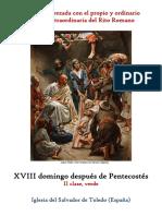 XVIII Domingo Después de Pentecostes. Propio y Ordinario de la santa misa