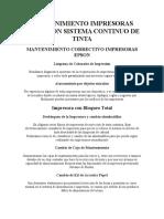 MANTENIMIENTO IMPRESORAS EPSON CON SISTEMA CONTINUO DE TINTA