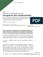 6 de Agosto de 1825_ Creación de Bolivia