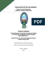 RECUPERACION DE ORO DE FILTROS DE CARBON ACTIVADO BOLIVIANOS