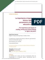 La importancia e impacto de la lectura, redacción y pensamiento crítico en la educación superior