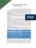 CARACTERISTICAS PARTICULARES DEL PRODUCTO y ARGUMENTOS