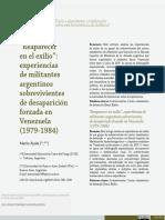 """Artículo_ """"Reaparecer en el exilio"""" experiencias de militantes argentinos sobrevivientes de desaparición forzada en Venezuela (1979-1984).pdf"""