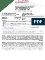 Intellectual Property Law-  Semester VII-  Internal Continous Assessment  (Backlog) & Term End (Backlog)  April 2020 (2)