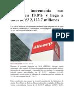 Alicorp incrementa sus ventas