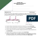 Examen Final - Resistencia de Materiales I (Ing. Civil 2020-10)