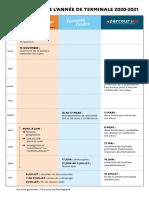 Calendrier de l'année de terminale 2020-2021