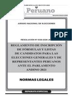 Resolucion 0330-2020-JNE [Reglamento Inscripcion de Formulas y Listas de Candidatos Elecciones Generales 2021]