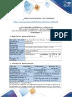 Guía de actividades y rúbrica de evaluación Paso 5 - Trabajo colaborativo 3