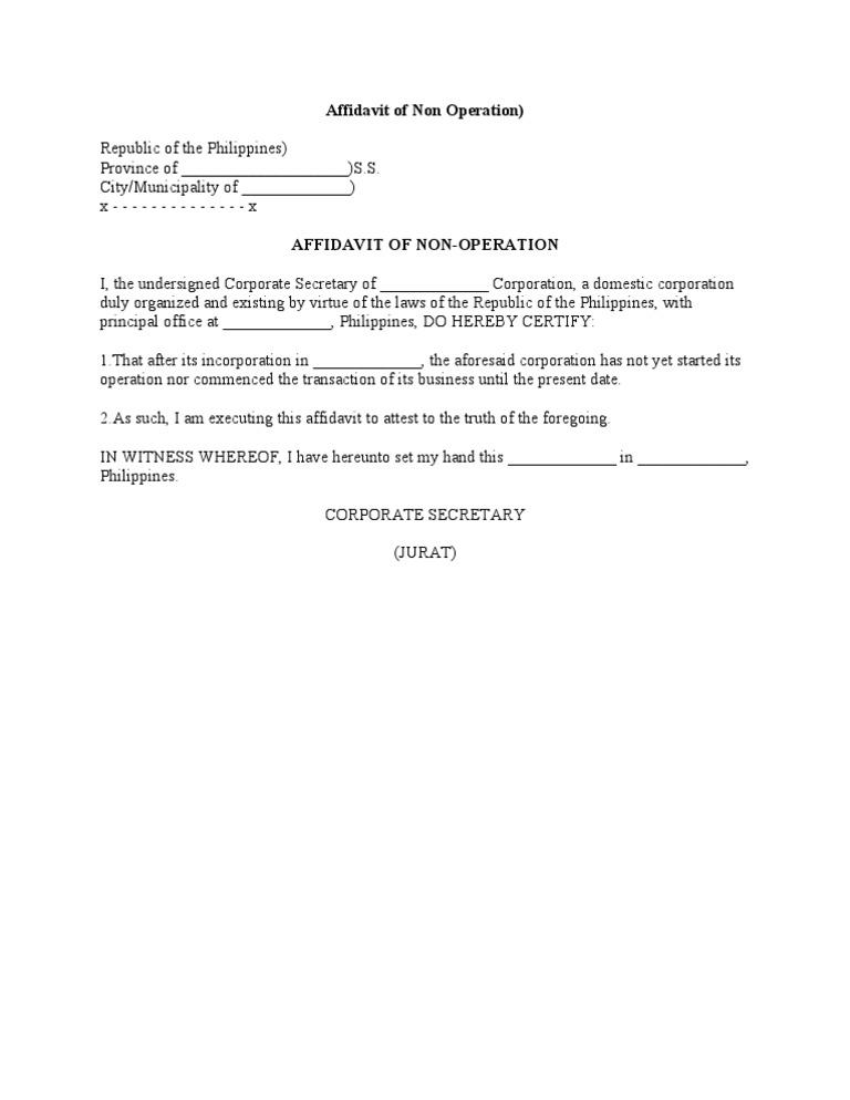 Affidavit of non operation yadclub Images