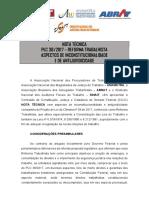 ANPT - NOTA TÉCNICA - REFORMA TRABALHISTA (inconstitucionalidades do PLC 38 2017)