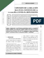 LA SUSPENSIÓN DE LA RELACIÓN LABORAL EN EL CONTEXTO DE LA PANDEMIA