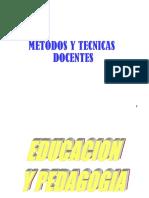 METODOS Y TECNICAS DE ENSEÑANZA
