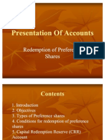 Accounts - Redemption Of Preference Share