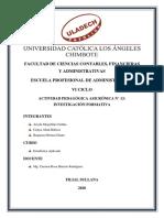 ACTIVIDAD PEDAGÓGICA ASICRÓNICA N° 13; INVESTIGACIÓN FORMATIVA