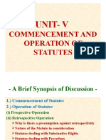COMMENCEMENT OF A STATUTE